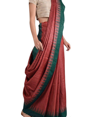 Red and Green Tussar Ghicha Silk Sambalpuri Ikat Saree