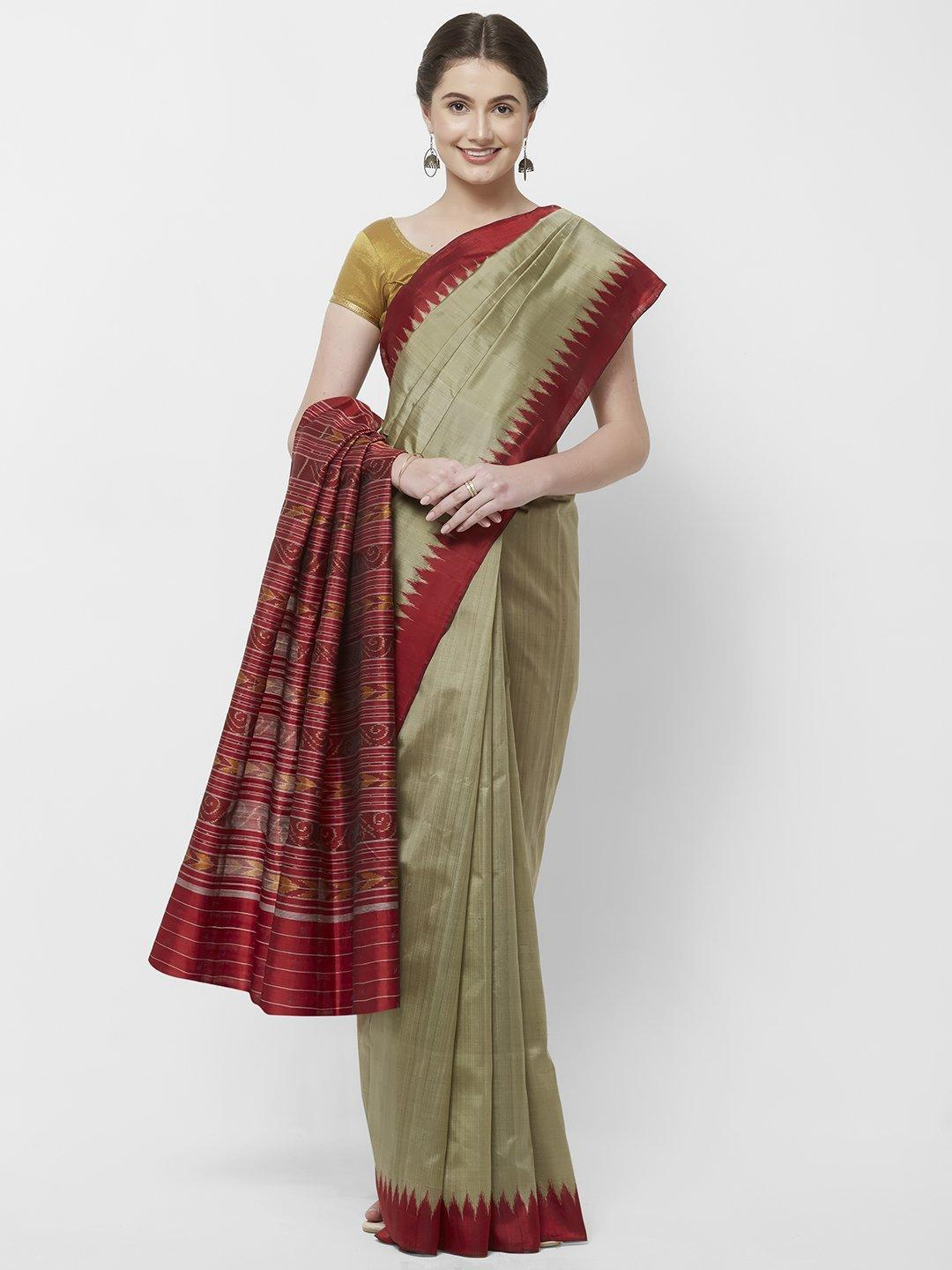 CraftsCollection.in -Grey Silk Odisha Sambalpuri Saree