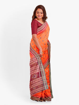 Orange Odisha Khandua Sambalpuri Silk Saree