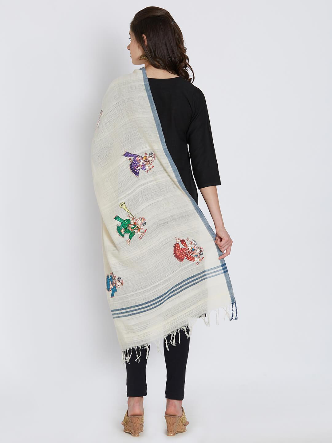 CraftsCollection.in - Offwhite Khadi Cotton Stole with Pattachitra motifs