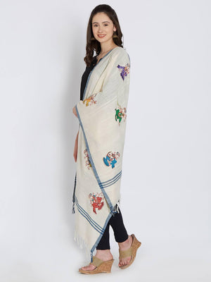 CraftsCollection.in - Off-White Khadi Cotton Stole with Pattachitra Motifs