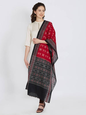 CraftsCollection.in - Red Sambalpuri Stole with Tribal Woven Motifs