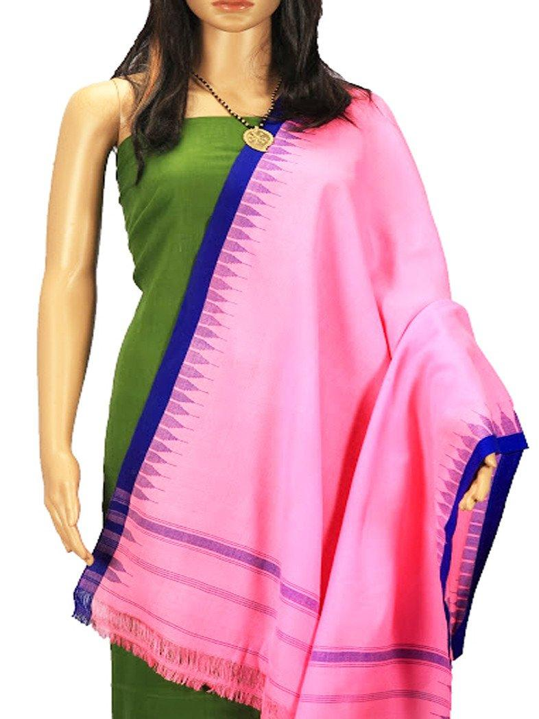 CraftsCollection.in - Woollen Pink Stole with woven Temple border