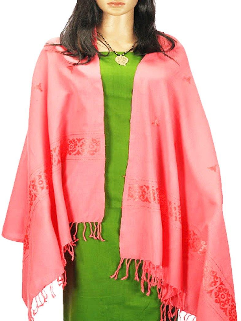 CraftsCollection.in - Woollen Pink Stole with Woven Border
