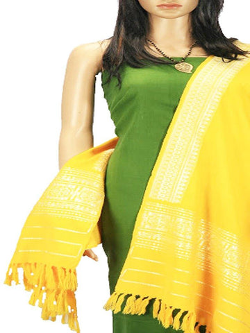 CraftsCollection.in - Woollen Yellow Stole with woven Temple border