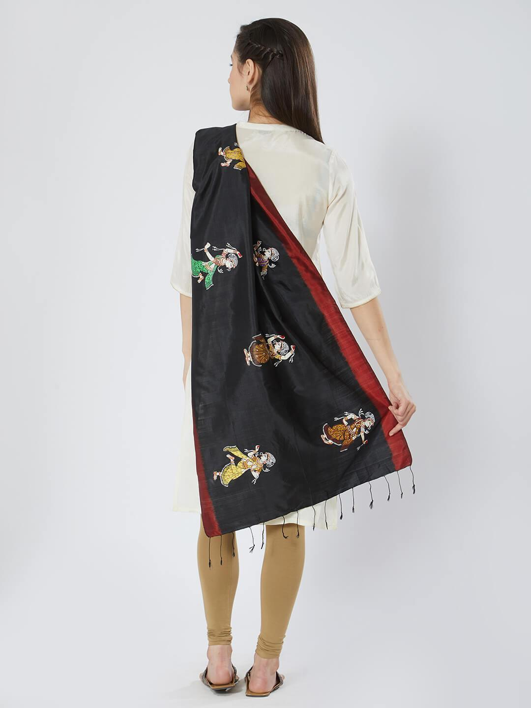 CraftsCollection.in - Black Red Silk Stole with Pattachitra motifs
