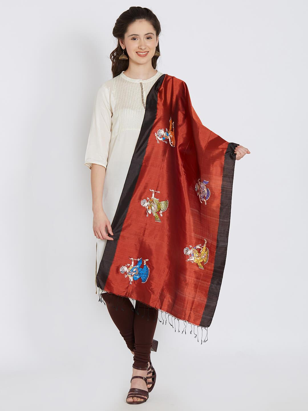 CraftsCollection.in - Maroon Black Silk Stole with Pattachitra motifs