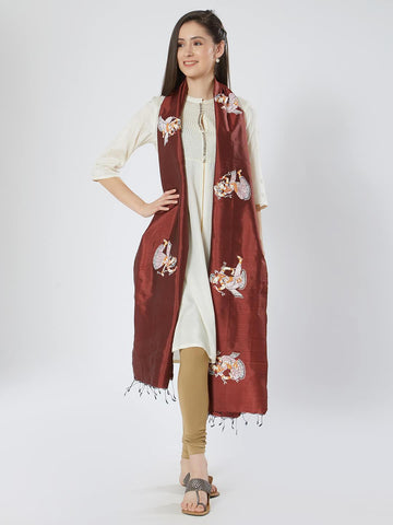 CraftsCollection.in - Maroon Silk Stole with Pattachitra motifs