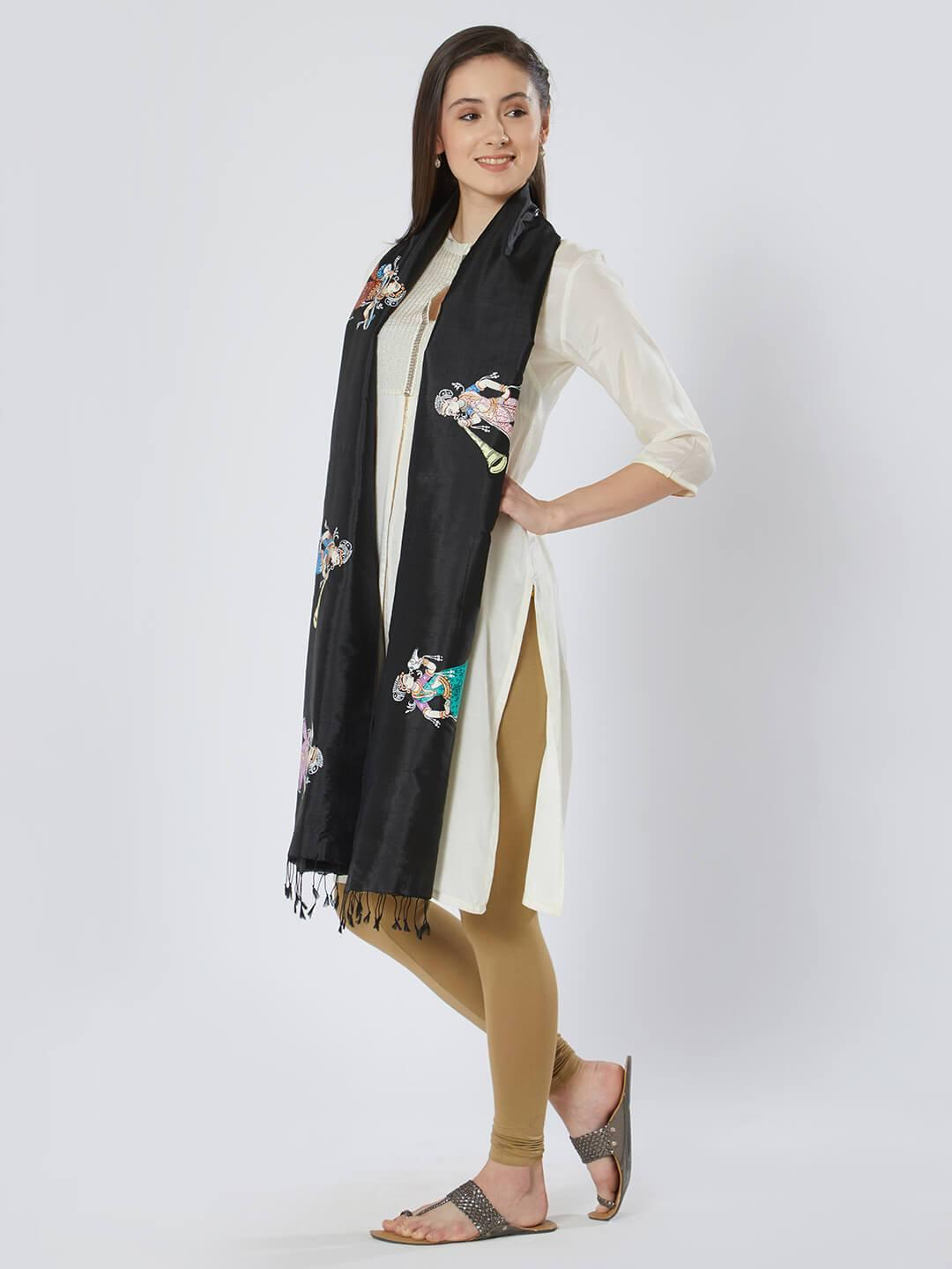 CraftsCollection.in - Black Silk Stole with Pattachitra motifs