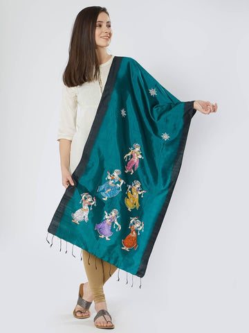 CraftsCollection.in - Green Black Silk Stole with Pattachitra motifs