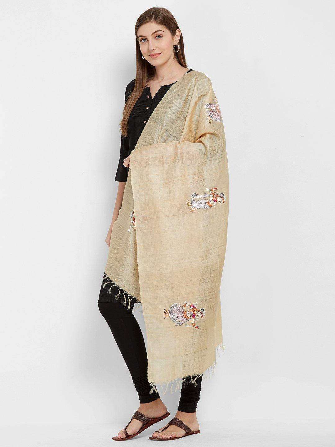 CraftsCollection.in -Beige Tussar Silk Stole with handpainted Pattachitra motifs
