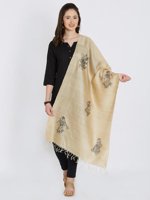 CraftsCollection.in - Beige Tussar Silk Stole with Pattachitra Motifs