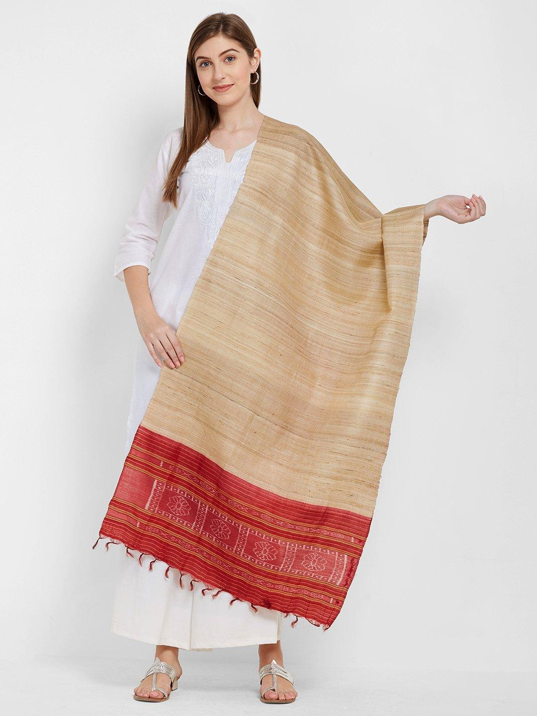 CraftsCollection.in -Beige and Red Tussar Silk Sambalpuri Stole