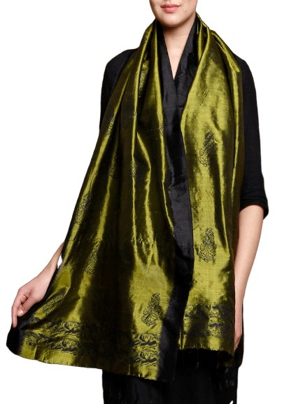 Olive Silk Stole with Hand Block Motifs