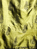CraftsCollection.in - Olive Silk Stole with handblock motifs