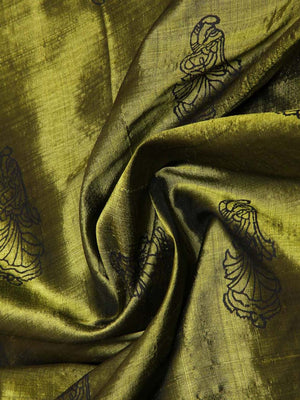 CraftsCollection.in - Olive Silk Stole with Hand Block Motifs