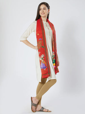 CraftsCollection.in - Red Silk Stole with Pattachitra Motifs