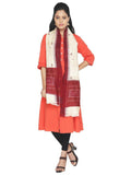 CraftsCollection.in - Beige Tussar Silk Odisha Sambalpuri Ikat Stole with Temple border