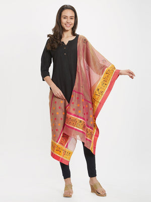 Maheswari Silk  Stole with Hand-painted Tribal Art