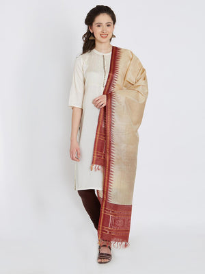 CraftsCollection.in - Beige Tussar Silk Stole with Sambalpuri Pala