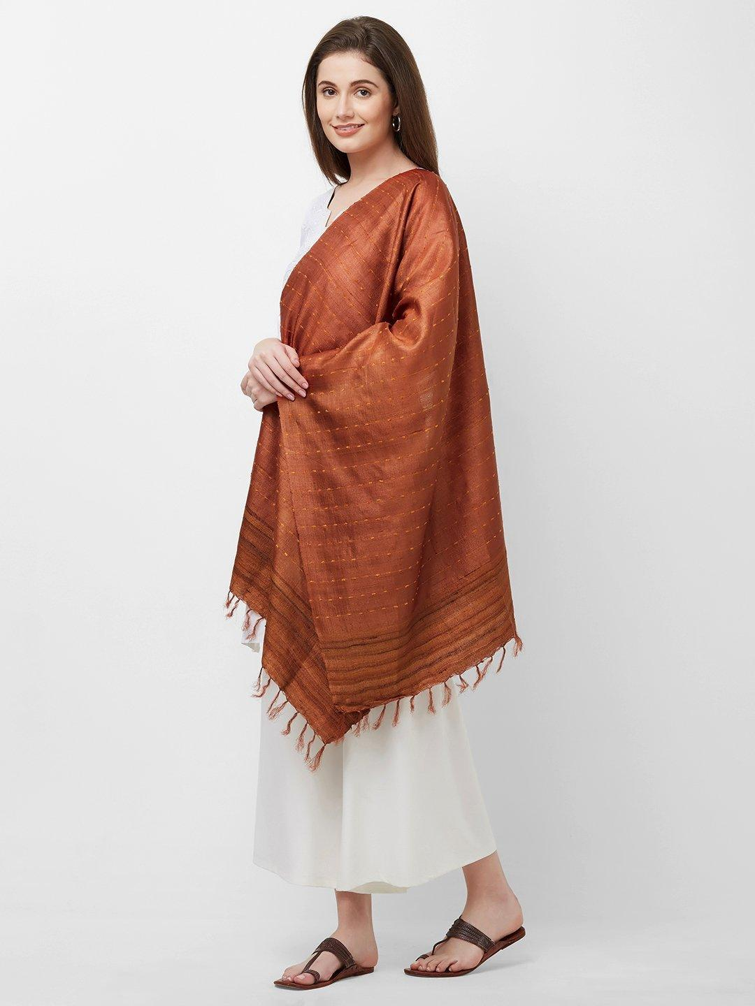 CraftsCollection.in -Rust Tussar Silk Stole