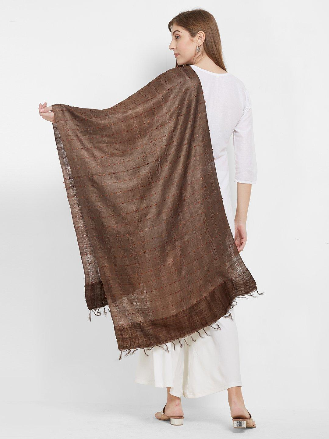 CraftsCollection.in -Brown Tussar Silk Stole
