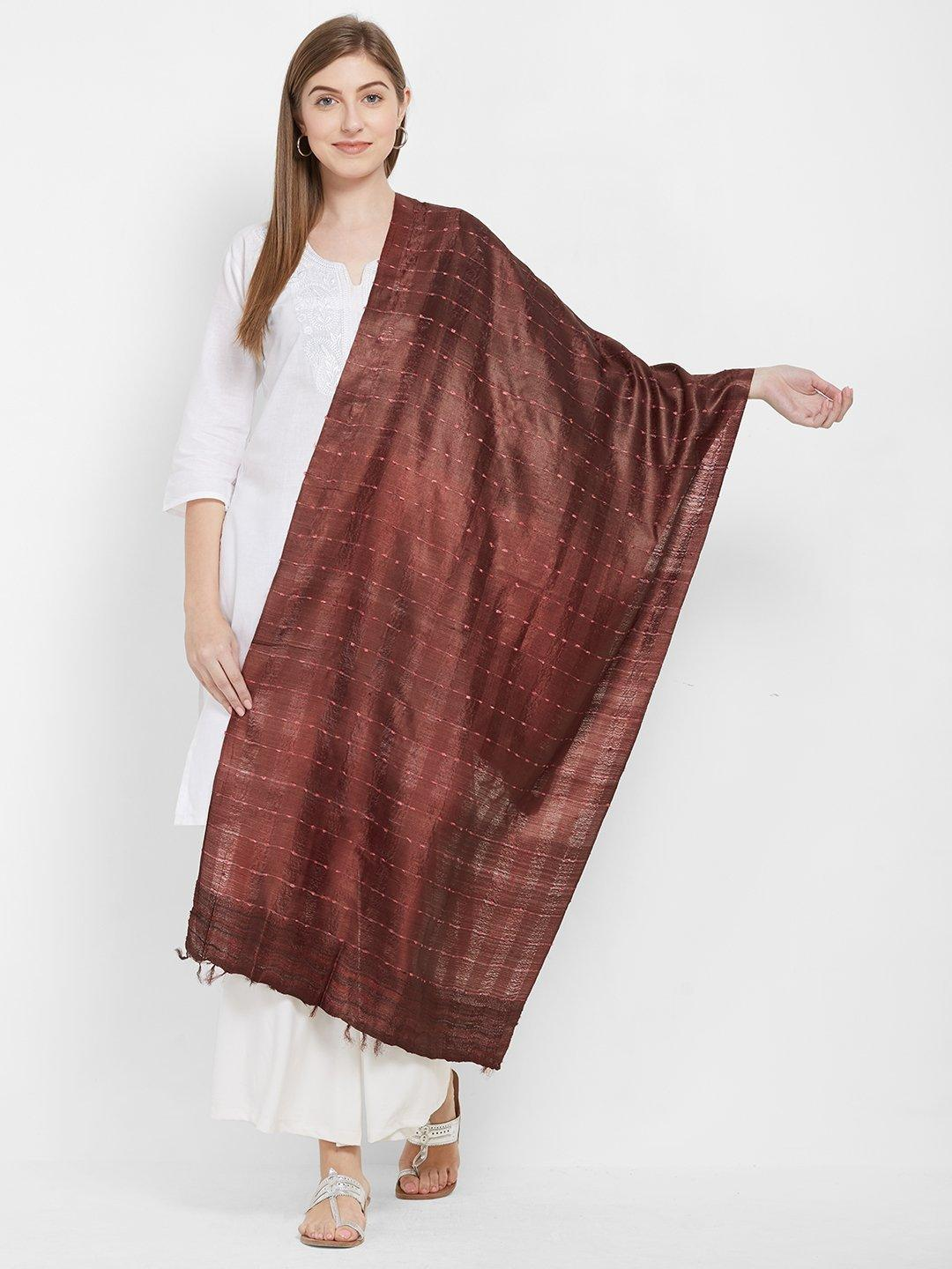 CraftsCollection.in -Maroon Tussar Silk Stole