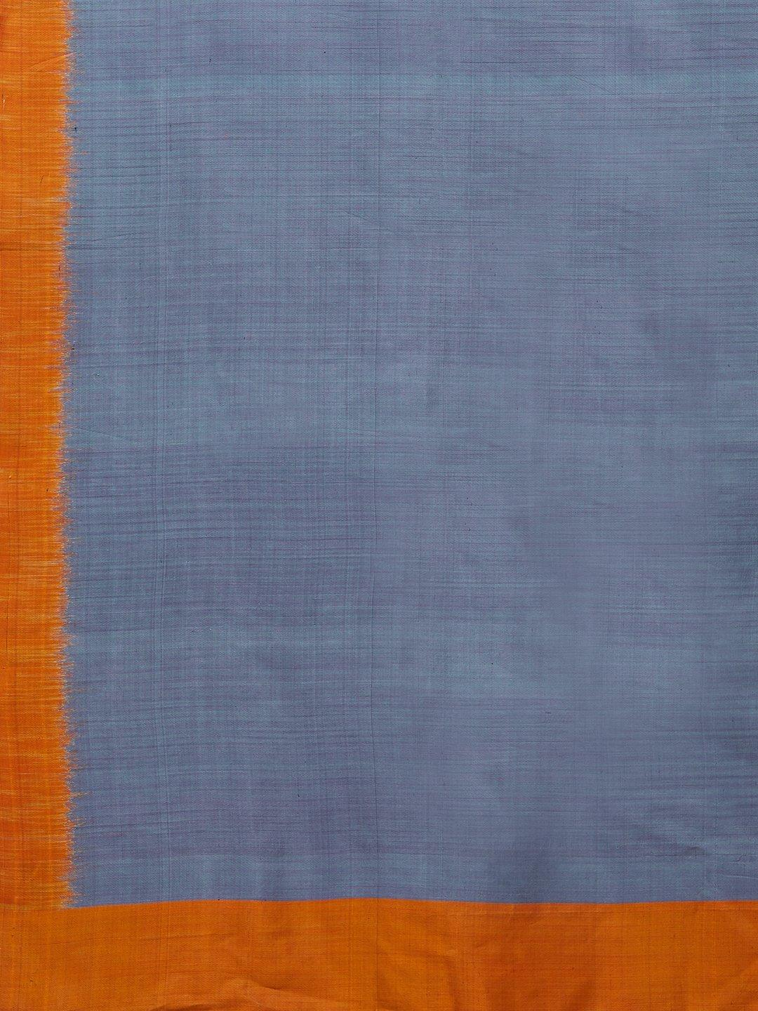 CraftsCollection.in -Grey Orange Pure Silk Stole