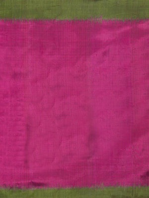 CraftsCollection.in -Pink and Green Pure Silk Stole