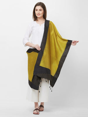 CraftsCollection.in -Golden and Black Pure Silk Stole