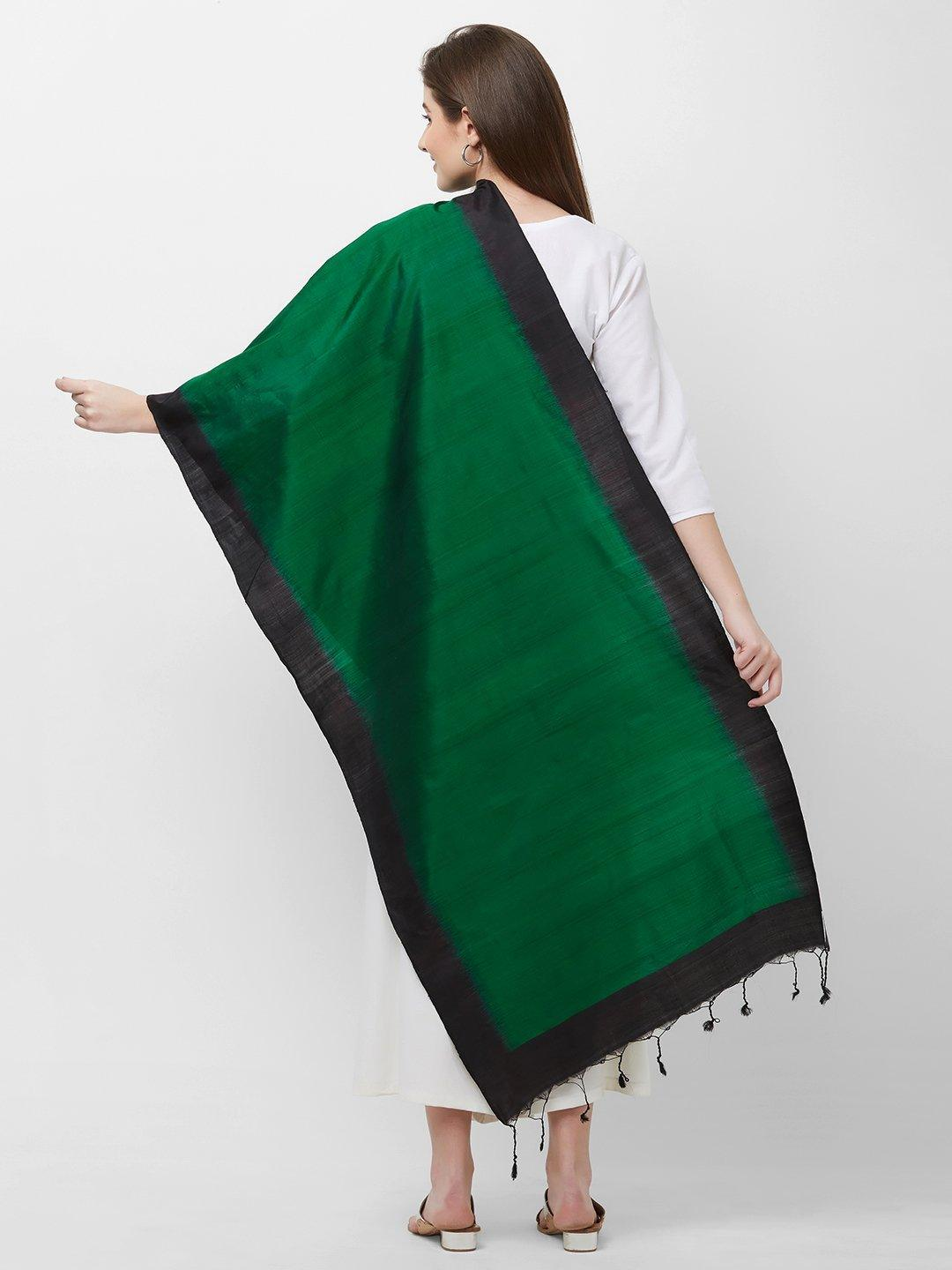 CraftsCollection.in -Green and Black Pure Silk Stole