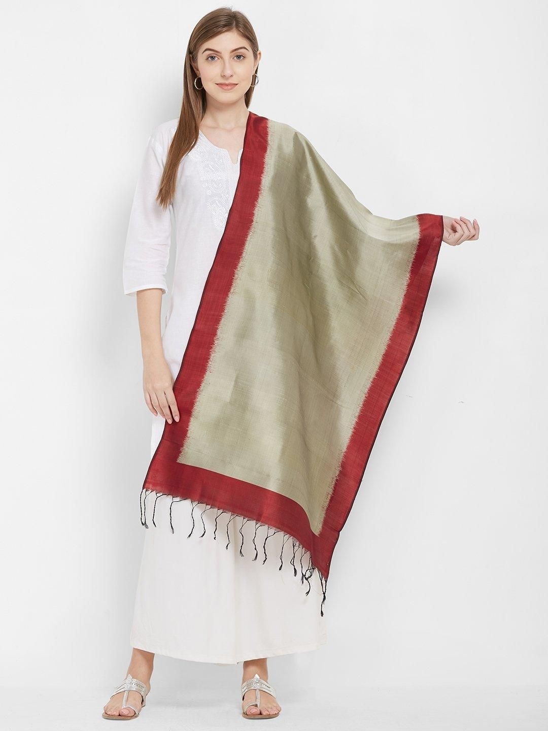 CraftsCollection.in -Grey and Red Pure Silk Stole