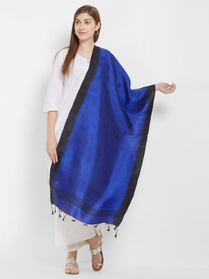 CraftsCollection.in -Blue and Black Pure Silk Stole