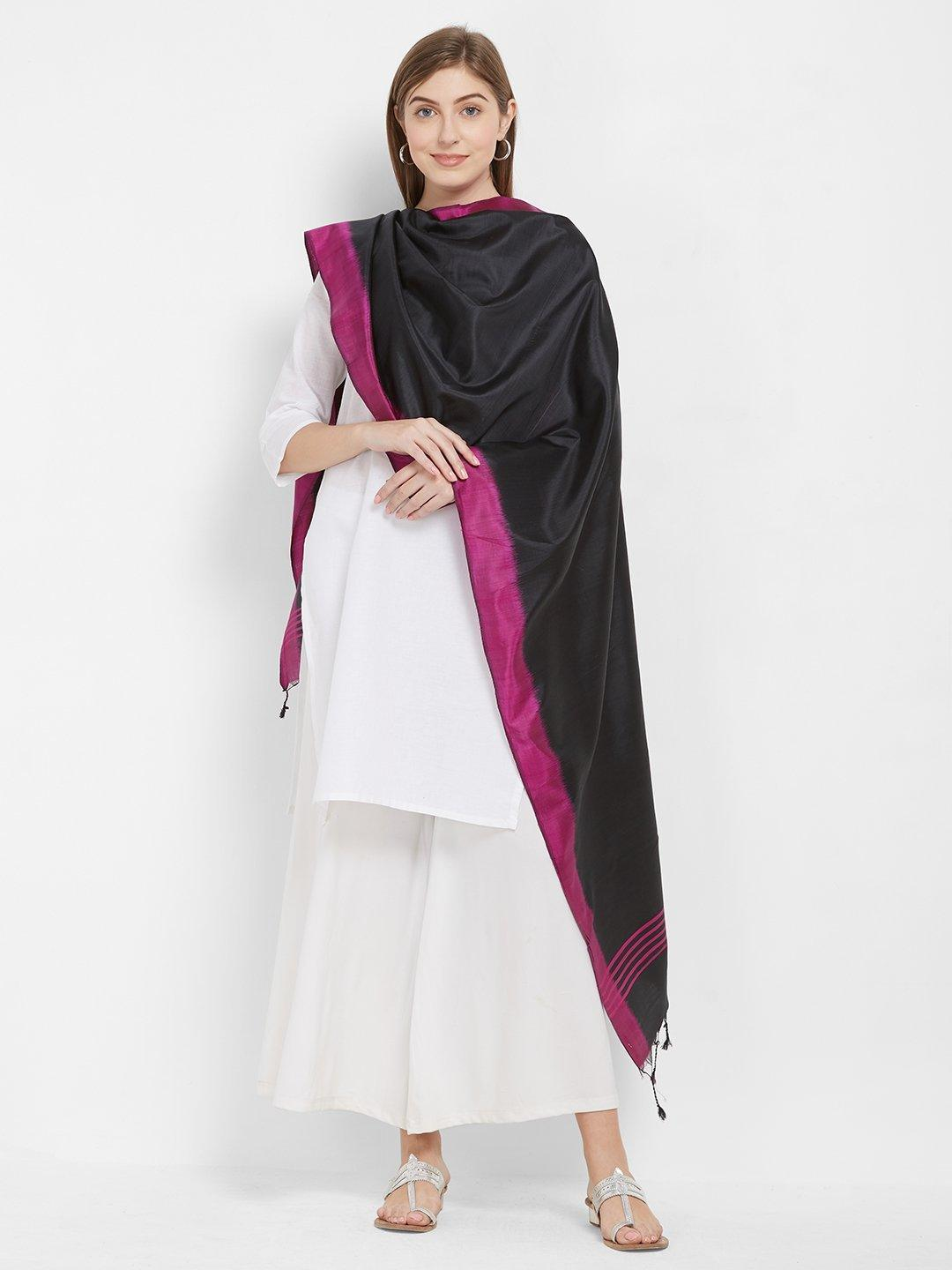 CraftsCollection.in -Black and Pink Pure Silk Stole