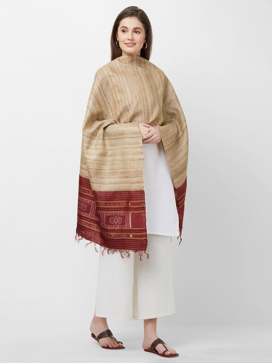 CraftsCollection.in -Beige and Maroon Tussar Silk Sambalpuri Stole
