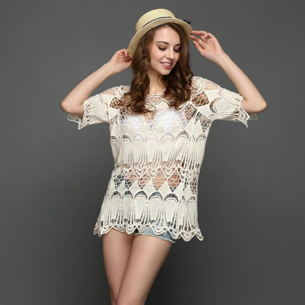 Lace Crochet 1/2 Sleeve Cover up shirt