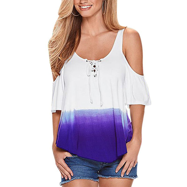 Cold Shoulder Gradient Color PrintT-shirt