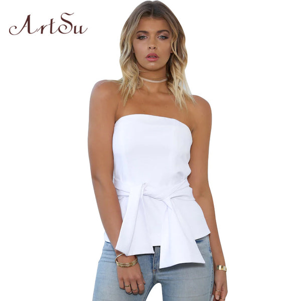 Strapless Off Shoulder Backless Top