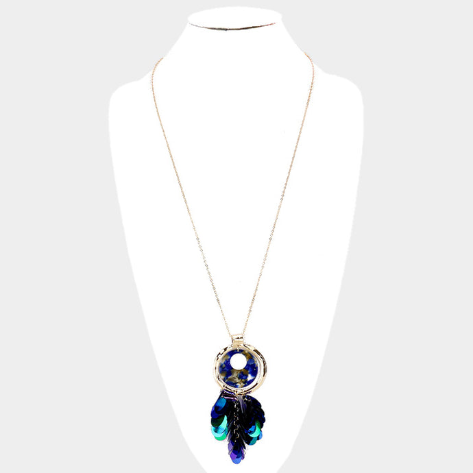 Sequin Blue Necklace Set