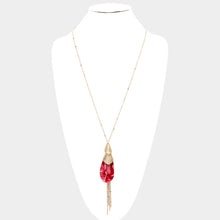Tear Drop Red Pendant Necklace