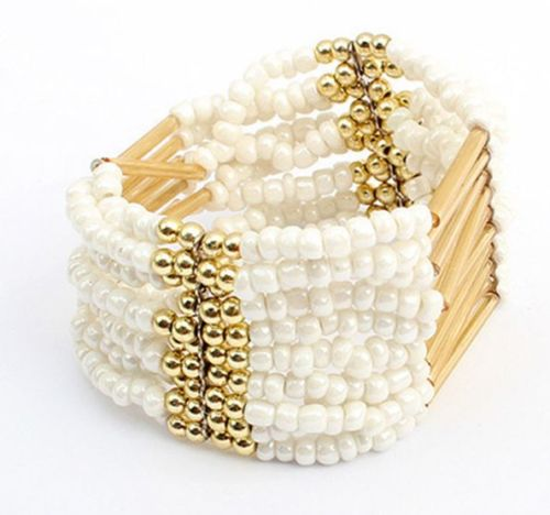 Cream & Gold Beaded Bracelet