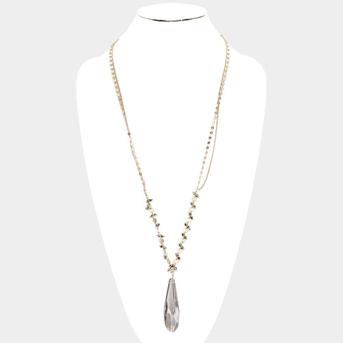 Crystal Pendant Metal Bead Necklace