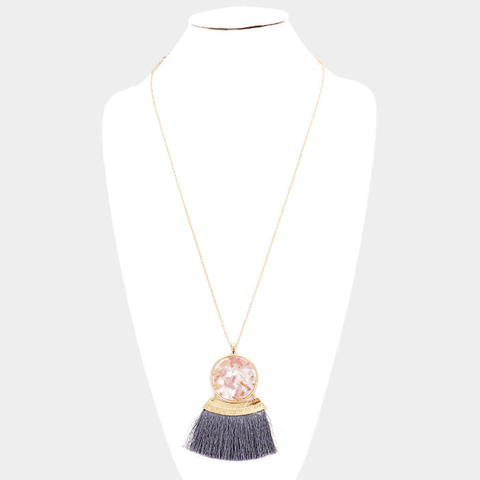 Fan Tassel Necklace Long Pendant