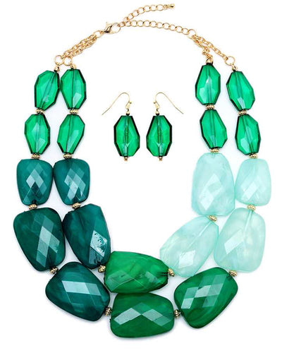 Green Chunky Multi-Color Resin Necklace