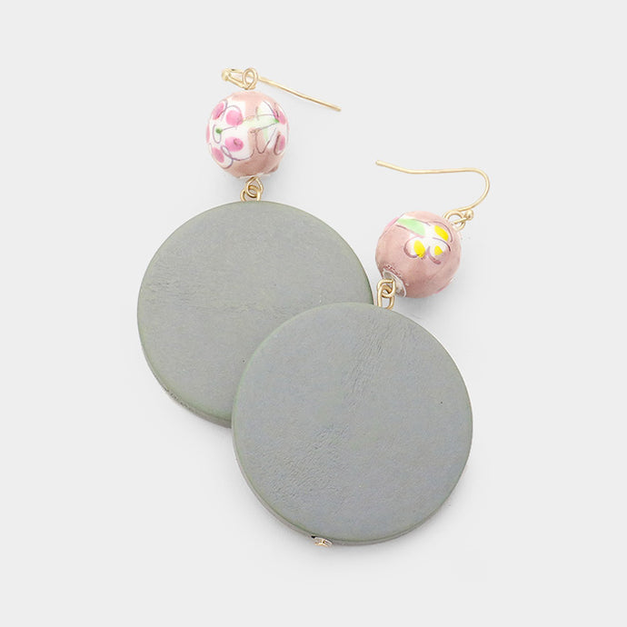 Ceramic Ball Wood Earrings