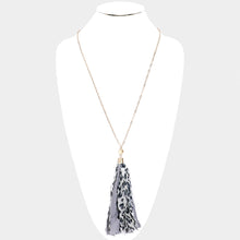 Leopard Pattern Fabric Tassel Necklace