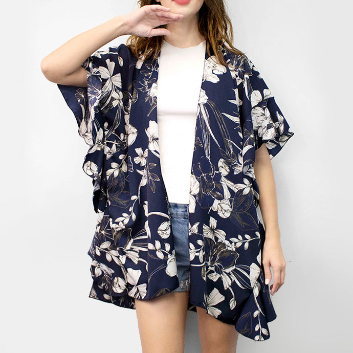 Navy Cardigan Kimono Beach Cover-Up