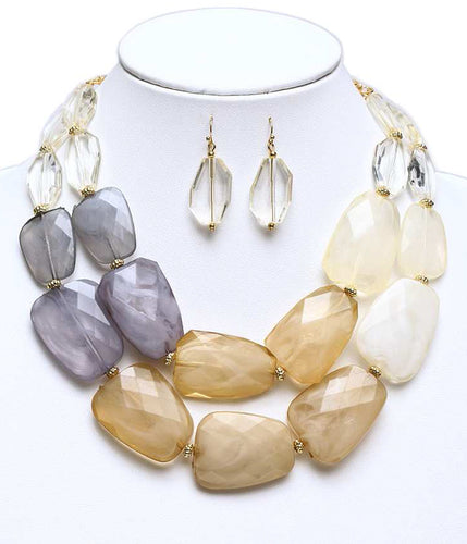 Neutral Chunky Multi-Color Resin Necklace