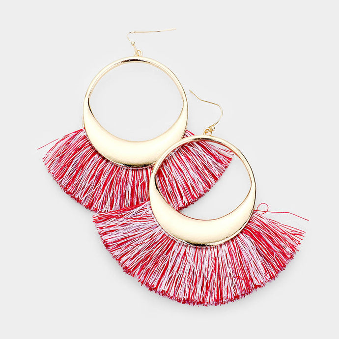 Pink Hollow Round Fan Earrings