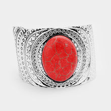 Tribal Oval Red Cuff Bracelet